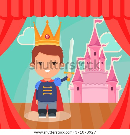 Cute Cartoon Boy in Prince Costume Standing on the Stage. Pink Castle on Background. Colorful Vector Illustration - stock vector