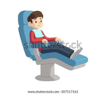 Cute cartoon boy on dentist visit sitting in dental chair with scared expression. - stock vector