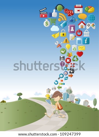 Cute cartoon boy using tablet on green park with Internet and Website icons Set - stock vector