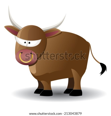 Cute cartoon brown bull illustration on white background. - stock vector