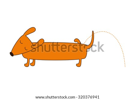 Cute cartoon brown contoured foxy colored pissing dachshund with closed eyes, brown nose, one leg up, curled tail isolated on white background. Logo template, design element. Flat style illustration - stock vector