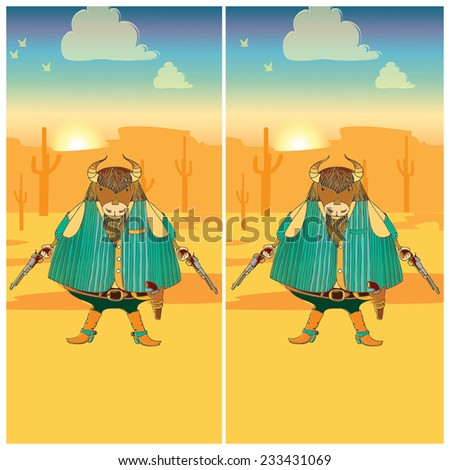 Cute cartoon bull. Find the ten differences between the two pictures. Puzzle for kids. - stock vector