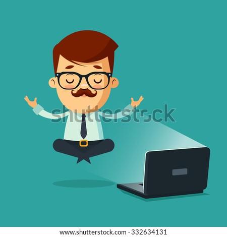 Cute Cartoon Businessman Meditating Near the Laptop. Colorful Vector Illustration - stock vector