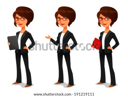 cute cartoon businesswoman in elegant suit - stock vector