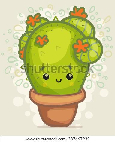 Cute Cartoon Cactus - stock vector