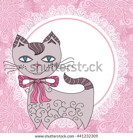 Cute cartoon cat and beautiful floral frame. Vector illustration.