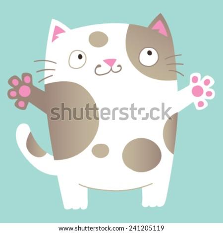 Cute cartoon cat asking for a hug. Vector Illustration. - stock vector