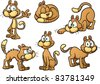 Cute cartoon cat in different poses. Vector illustration with simple gradients. Each on a separate layer. - stock photo