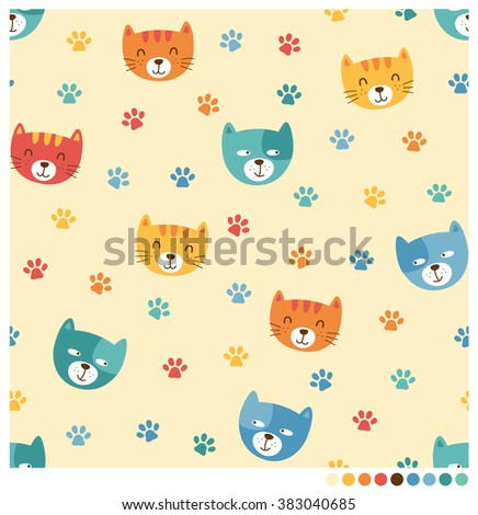 Cute cartoon cats and dogs vector seamless pattern for kids - stock vector