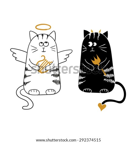 Cute cartoon cats, angel and demon. Vector illustration.  - stock vector