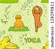 Cute cartoon cats practicing yoga green seamless pattern, vector - stock vector