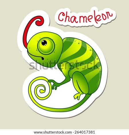 Cute cartoon Chameleon - stock vector
