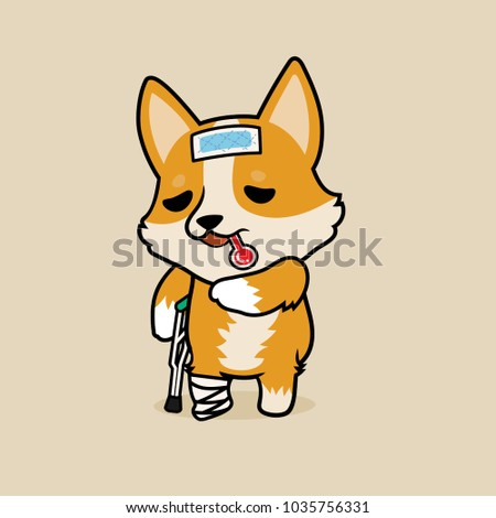 Cute Cartoon Character Design Pembroke Welsh Corgi Dog Get Sick And Broken Leg Use Cooling