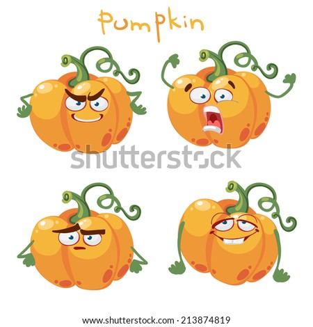 Cute cartoon character with many expressions of pumpkin - stock vector