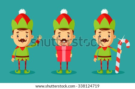 Cute Cartoon Characters in Christmas Elf Costumes. Vector Set - stock vector