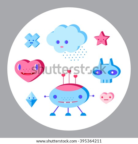 Cute cartoon characters set. Pink, light pink, blue, light blue, sky blue, vinous. - stock vector