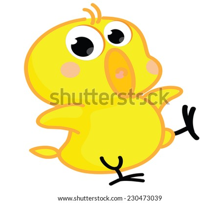 cute cartoon chick posing - stock vector