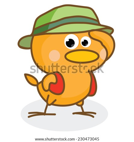cute cartoon chick wearing a hat - stock vector