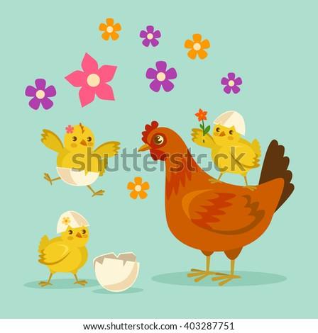 Cute cartoon chicken mother and kids. Vector flat cartoon illustration - stock vector