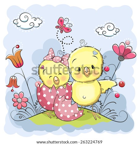 Cute Cartoon Chicks on a meadow with flowers and butterflies - stock vector