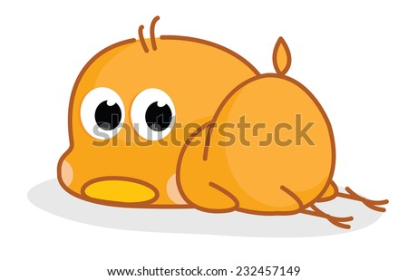 cute cartoon chicks posing sleep  - stock vector