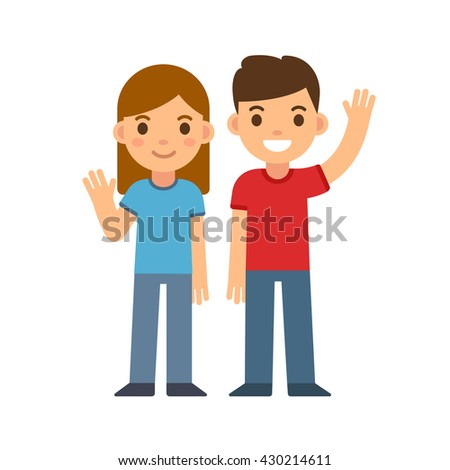 Cute cartoon children smiling and waving, boy and girl. Brother and sister or two friends. Happy kids vector illustration. - stock vector