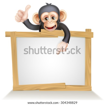 Cute cartoon chimp monkey like character mascot peeking above a sign, pointing at it and giving a thumbs up - stock vector
