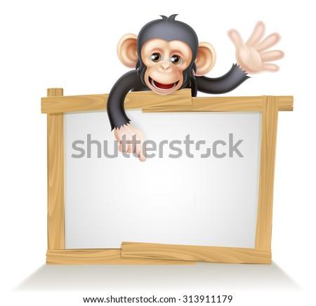 Cute cartoon chimp monkey like character mascot peeking above a sign, pointing at it and waving - stock vector