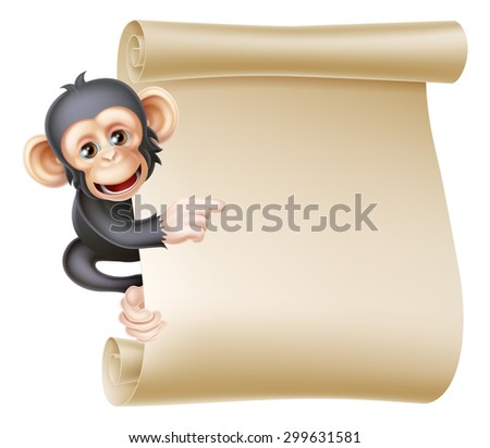 Cute cartoon chimp monkey like character mascot peeking around a scroll banner sign and pointing at it - stock vector