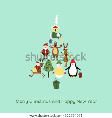 Cute cartoon Christmas card with cute Christmas tree - stock vector