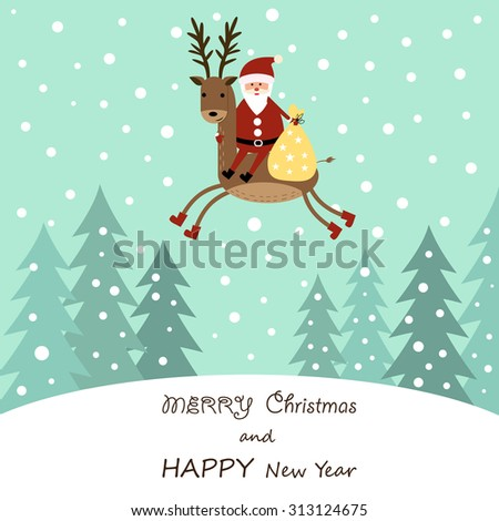 Cute cartoon Christmas card with reindeer - stock vector