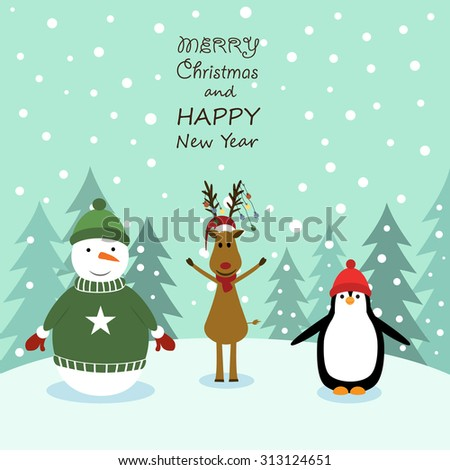 Cute cartoon Christmas card with reindeer and snowman - stock vector