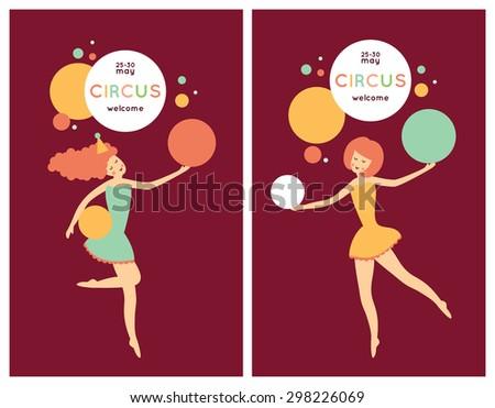 Cute cartoon circus collection. Beautiful circus poster  - stock vector