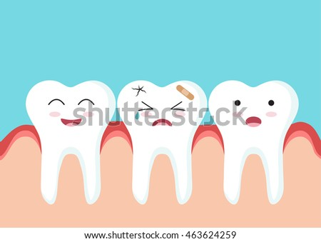 Cute Cartoon Clip Art - Close up of Teeth character with red gum on blue background, Happy Tooth and smiling tooth with red gum, Tooth icon with broken and crying face, Tooth get sick - Vector EPS 10