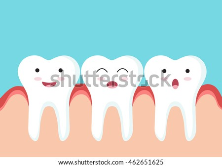 Cute Cartoon Clip Art - Close up of Teeth icon character with red gum on blue background, Happy Tooth and smiling tooth with red gum - Vector EPS 10
