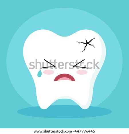 Cute Cartoon Clip Art - Tooth icon with broken and crying face on blue background, Tooth get sick - Vector EPS 10 - stock vector