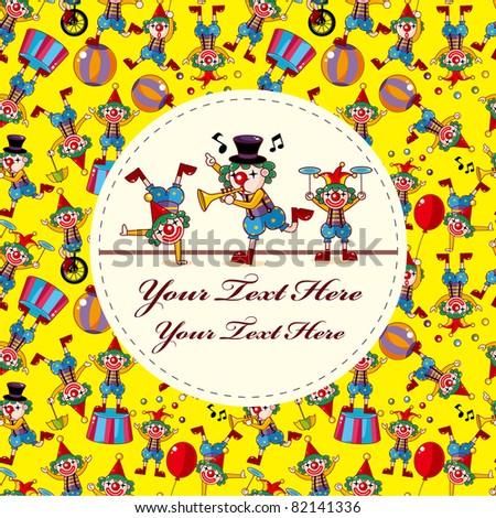 cute cartoon clown card - stock vector