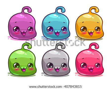 Cute cartoon colorful kawaii characters set, vector funny jelly aliens,  isolated on white - stock vector
