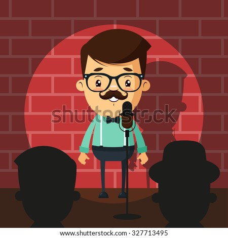 Cute Cartoon Comedian Doing Stand Up. Colorful Vector Illustration - stock vector