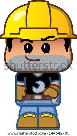 Cute Cartoon Construction Worker Avatar - stock vector