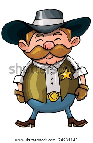 Cute cartoon cowboy with a gun belt. Isolated on white - stock vector