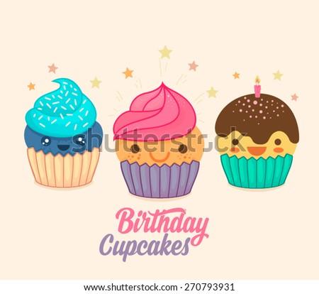 Cute Cartoon Cupcakes  - stock vector