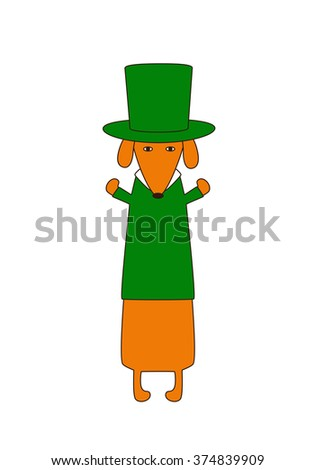 Cute cartoon dachshund in emerald hat and pullover. Greeting card / invitation template. Design element - stock vector