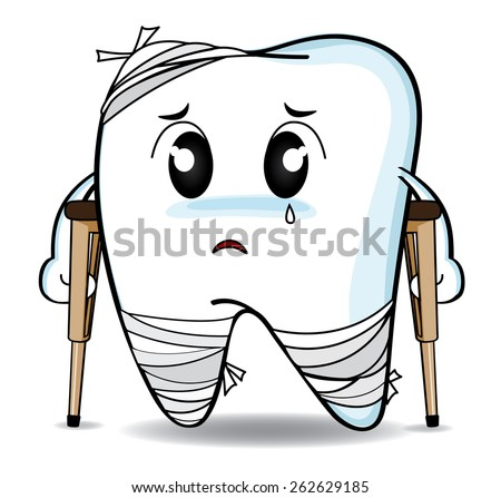 Cute cartoon Decay tooth or injury - stock vector