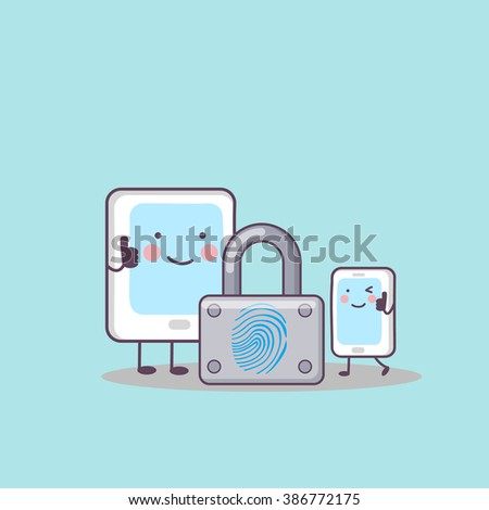cute cartoon digital tablet pc and phone with fingerprint lock, great for your technology concept design - stock vector