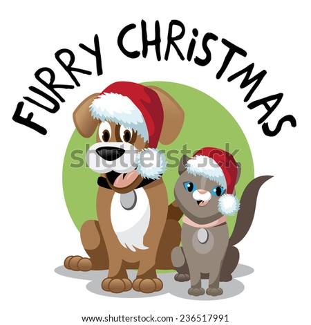 Cute cartoon dog and cat furry Christmas EPS 10 vector illustration - stock vector
