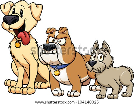 Cute cartoon dog breeds. Vector illustration with simple gradients. Each in a separate layer for easy editing. - stock vector