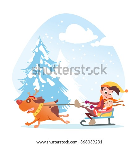 Cute cartoon dog playing with little children in winter garden.Vector illustration isolated on white background. - stock vector