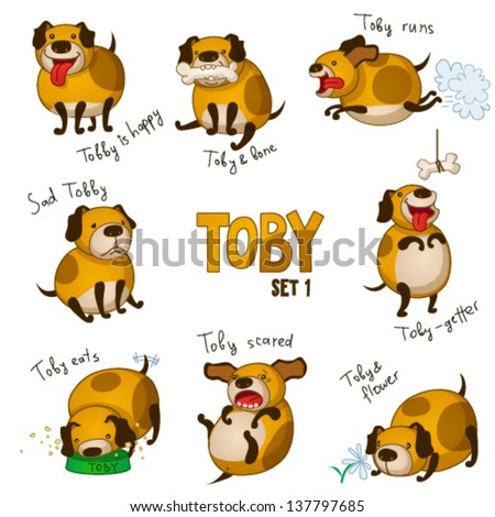Cute cartoon dog Toby. Set 1 - stock vector