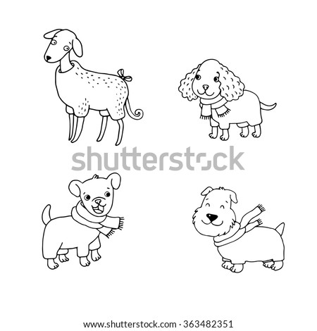cute cartoon dogs in winter clothes italian greyhound cocker spaniel terrier hand